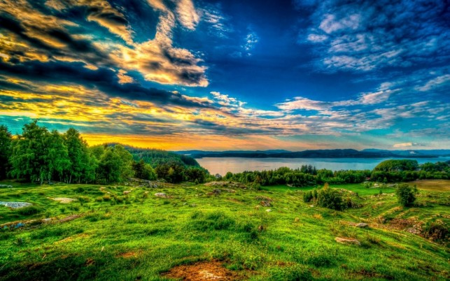 Trees Grassy Hill River Clouds wallpapers and stock photos