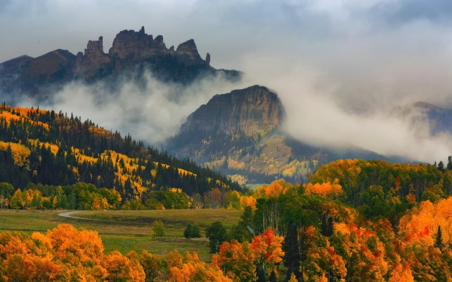 Autumn Wood Peaks Fog Colorado wallpapers and stock photos