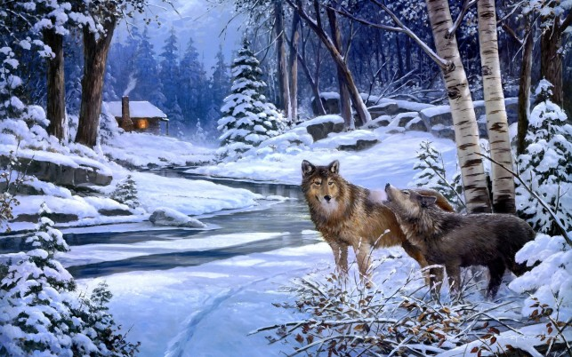Winter Wood Cabin Wolves Creek wallpapers and stock photos