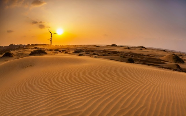 Pretty Desert Wind Mill Sunset wallpapers and stock photos