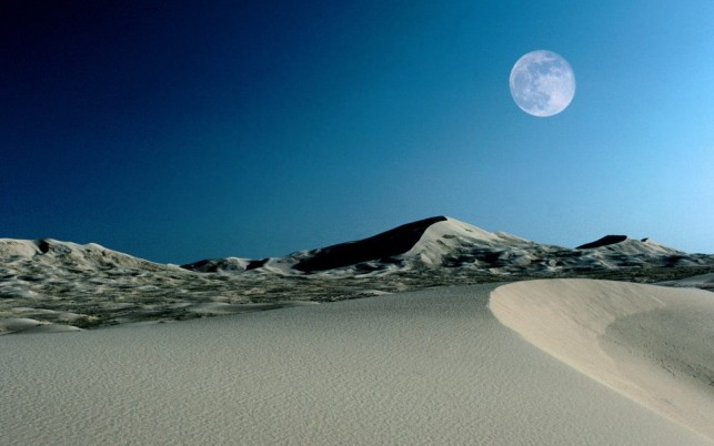 Desert Full Moon & Blue Sky wallpapers and stock photos