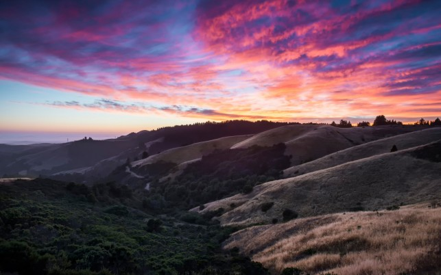 Nice Hills Pink Sky California wallpapers and stock photos