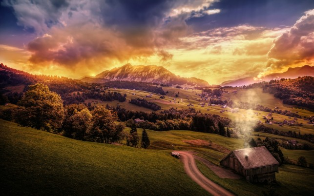 Peaks Hills Cabins Golden Dusk wallpapers and stock photos