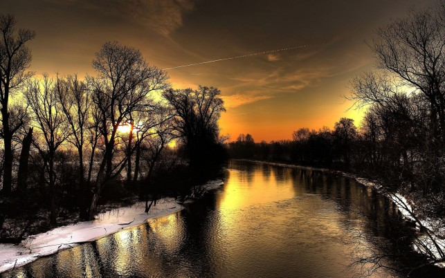 Black River Dark Trees Sunset wallpapers and stock photos