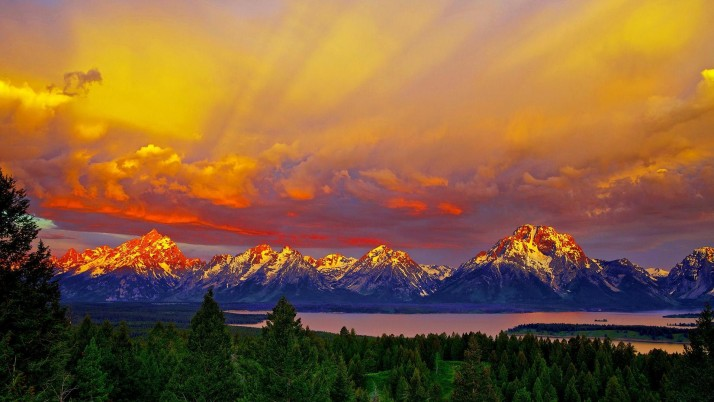 Amazing Sunset Grand Teton wallpapers and stock photos