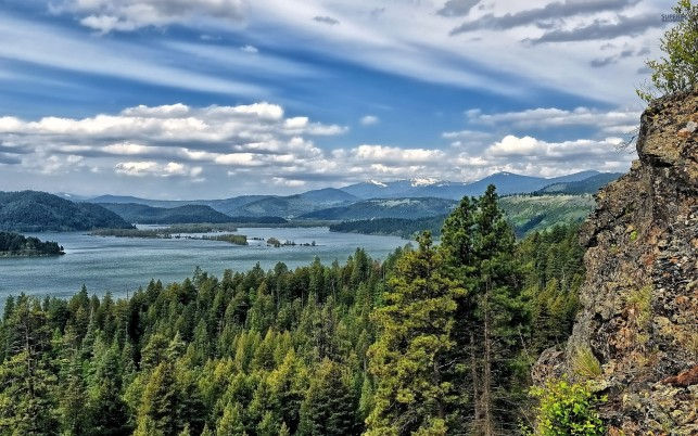 Lake Coeur D'Alene Idaho View wallpapers and stock photos