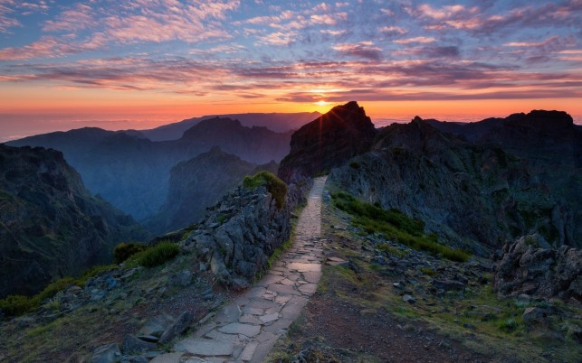 Peaks Way Pink Sunset Portugal wallpapers and stock photos