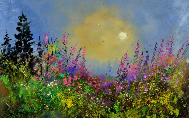 Flower Meadow & Full Moon wallpapers and stock photos
