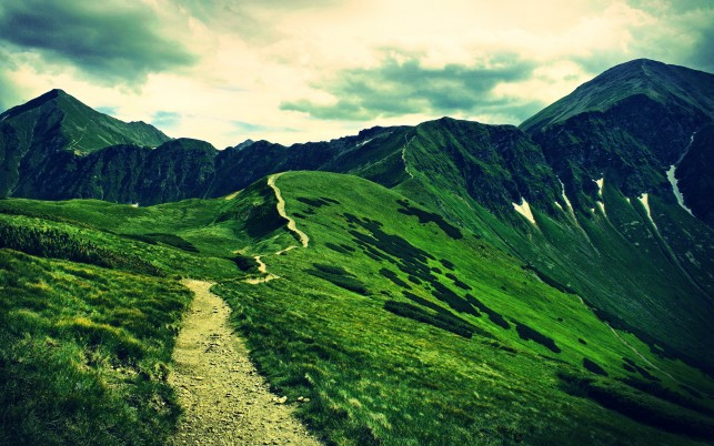 Lovely Green Slope Path Sky wallpapers and stock photos