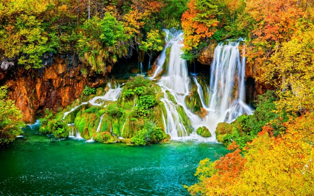 Bright Trees Waterfalls Lake wallpapers and stock photos