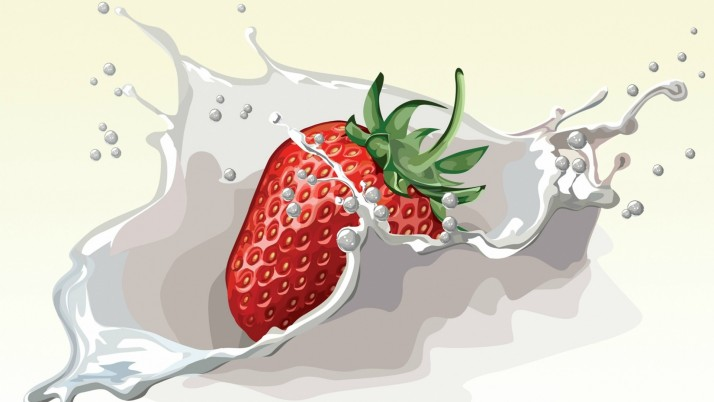 Strawberry In Milk wallpapers and stock photos