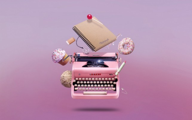 Pink Type Writer & Sweets wallpapers and stock photos