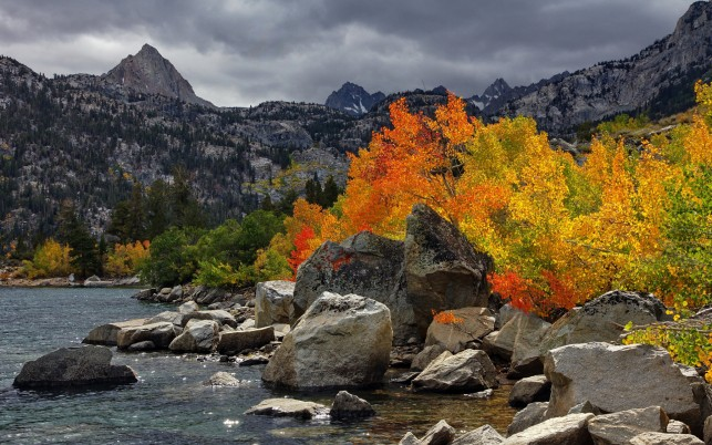 Peaks Autumn Trees Lake Rocks wallpapers and stock photos