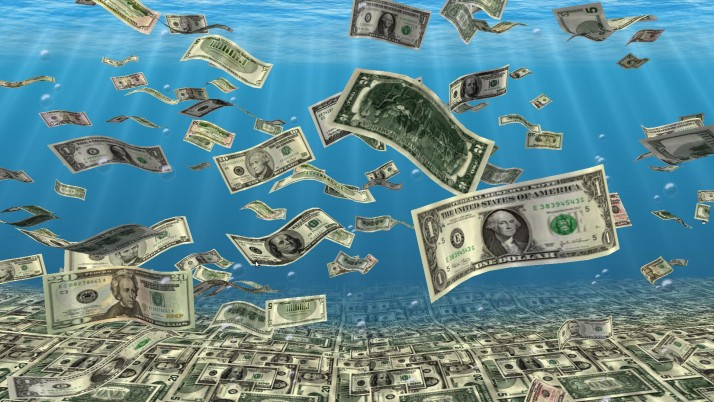 Falling Money Sea Bottom wallpapers and stock photos