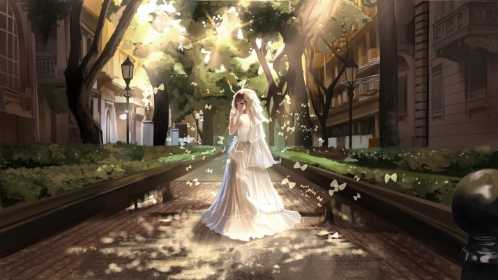 Girl Bride Road Houses Trees wallpapers and stock photos