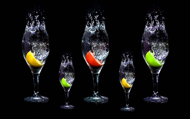 Glasses Fruits Slices Water wallpapers and stock photos