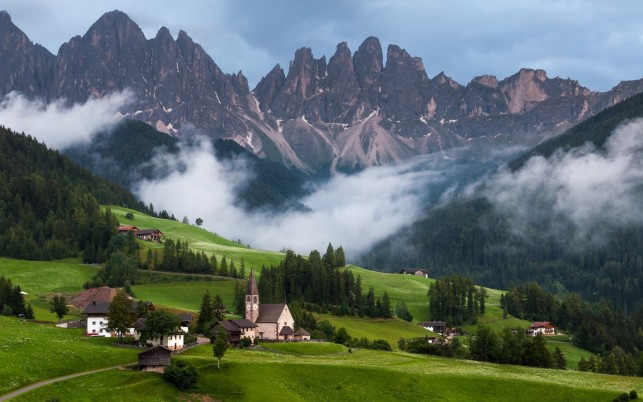 Peaks Village Foggy Dolomites wallpapers and stock photos