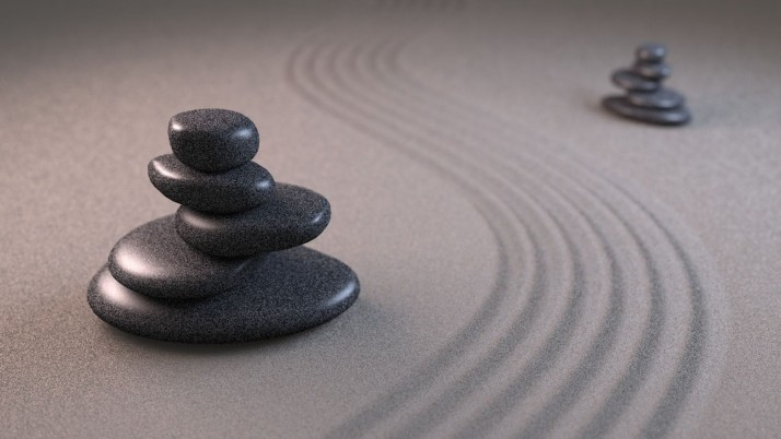 Zen Stones Pyramid Sand Lines wallpapers and stock photos