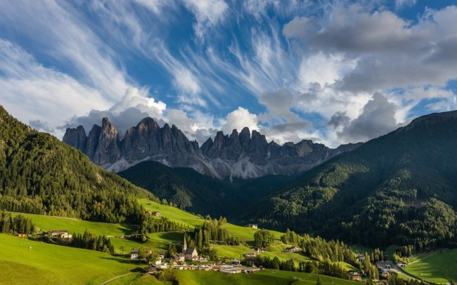 Peaks Village Cloudy Dolomites wallpapers and stock photos