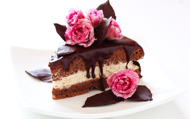Chocolate Cake & Pink Roses wallpapers and stock photos