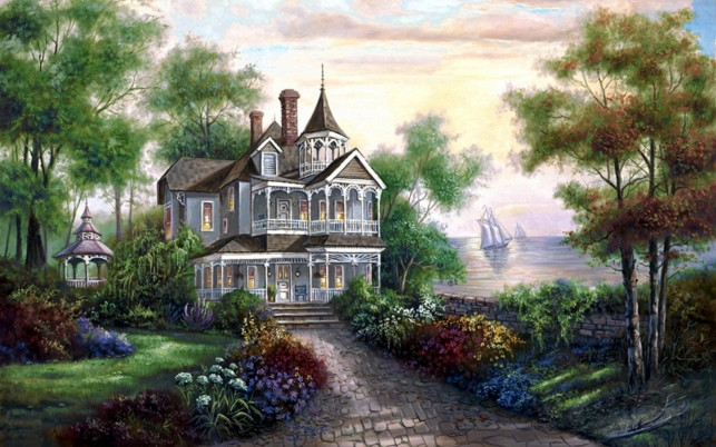 Mansion By The Lake wallpapers and stock photos