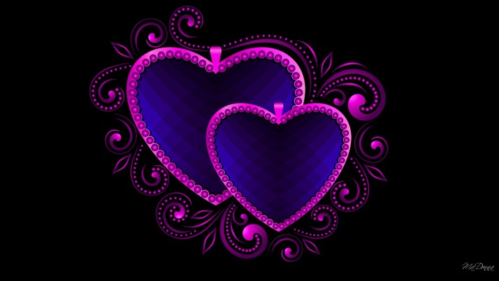 Luxury Hearts Blue & Pink wallpapers and stock photos