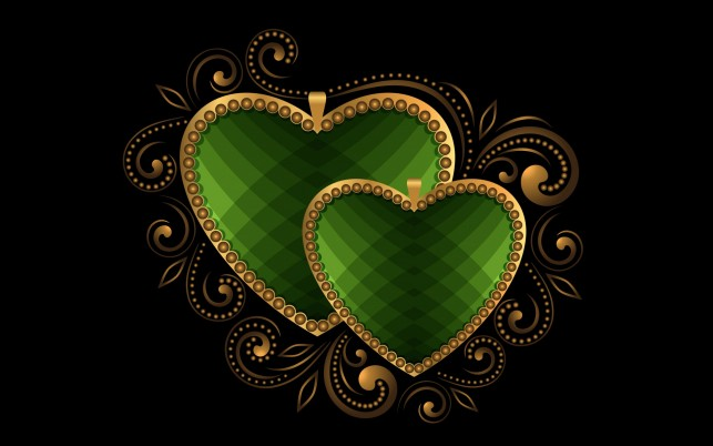 Luxury Hearts Green wallpapers and stock photos