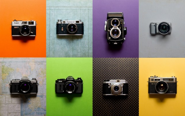 Vintage Cameras Collection wallpapers and stock photos
