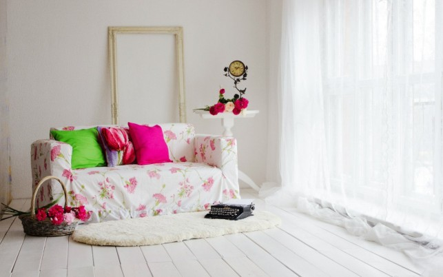 White Couch Floral Design wallpapers and stock photos