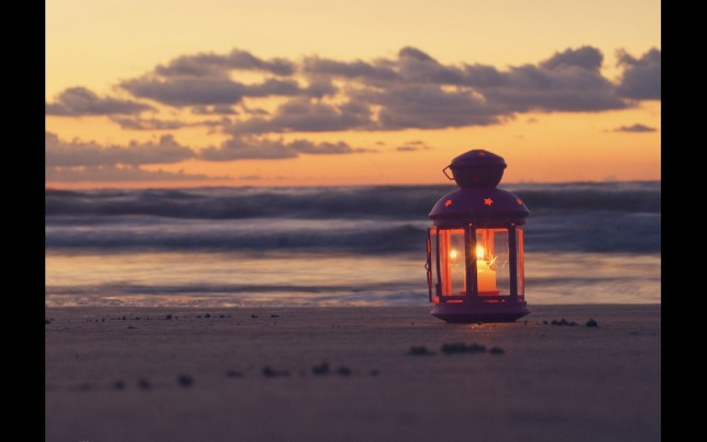 Lantern On The Beach wallpapers and stock photos