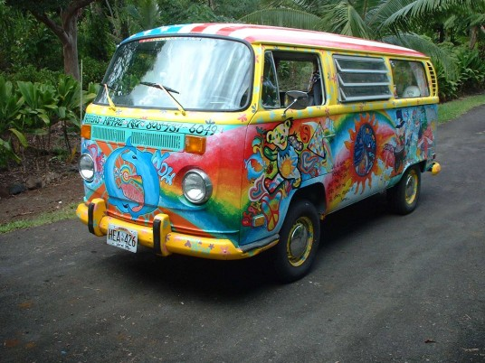 Volkswagen Bus Hippie Style wallpapers and stock photos