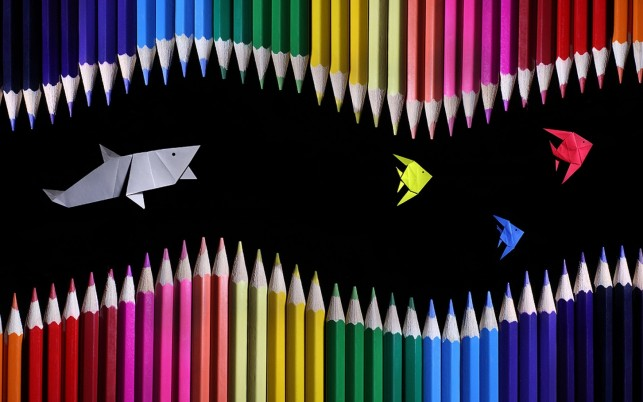 Colored Pencils Shark & Fishes wallpapers and stock photos