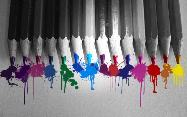 Gray Pencils Colored Splashes wallpapers and stock photos