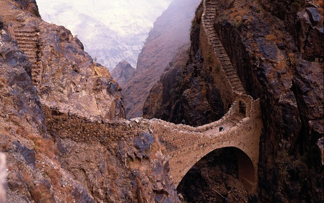 Shahara Bridge Yemen Asia wallpapers and stock photos