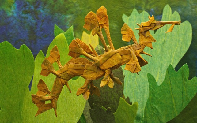 Origami Leafy Sand Dragon wallpapers and stock photos