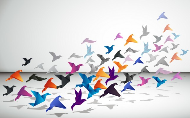 Los pájaros de origami wallpapers and stock photos