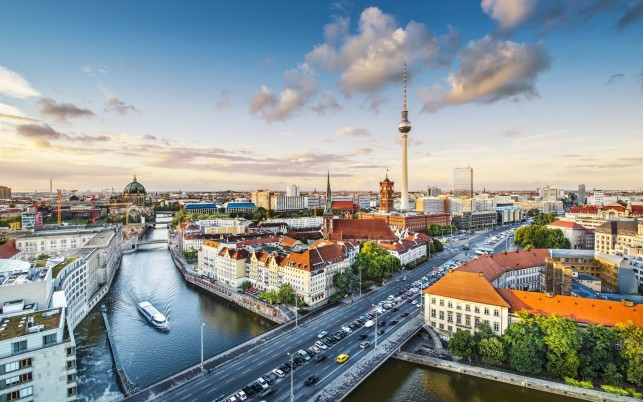 Spree River Aerial View Berlin wallpapers and stock photos