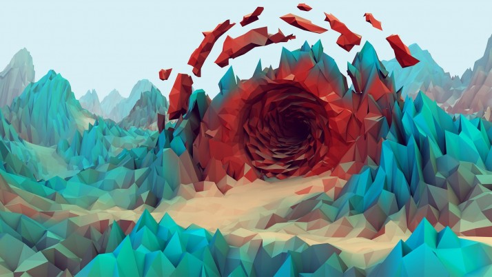 Low Poly Mountains Tunnel wallpapers and stock photos