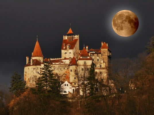 Bran Castle Full Moon Romania wallpapers and stock photos