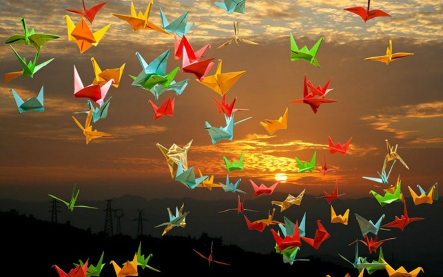 Origami Cranes Sunset wallpapers and stock photos