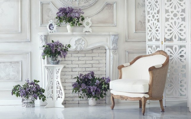 White Chair & Purple Lilac wallpapers and stock photos
