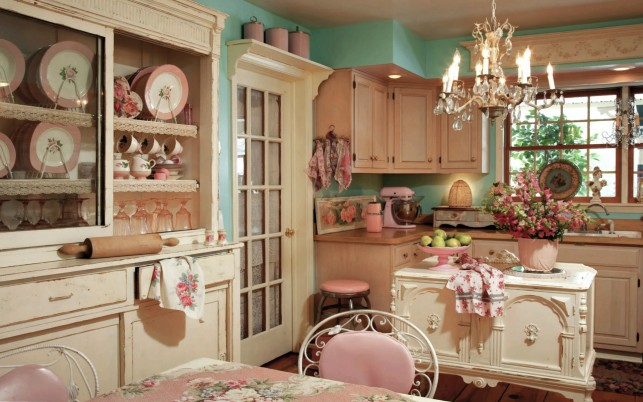 Romantic Vintage Kitchen wallpapers and stock photos