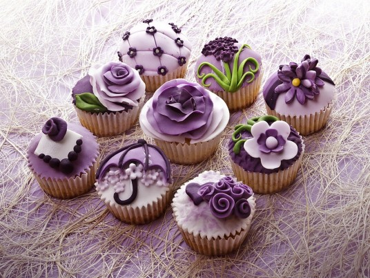 Purple Flower Cup Cakes wallpapers and stock photos