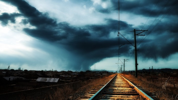 Rail Road Night Sky wallpapers and stock photos