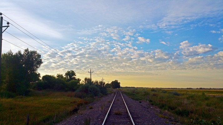 Rail Road Field Trees Pole Sky wallpapers and stock photos