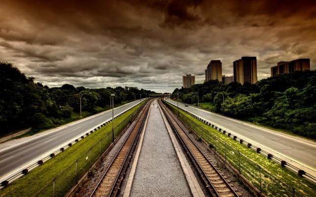 Double Tracks Stormy Sky wallpapers and stock photos