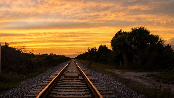 Terrific Rail Road Orange Sky wallpapers and stock photos
