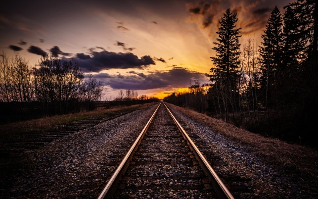 Rail Road Dark Trees Sunset wallpapers and stock photos