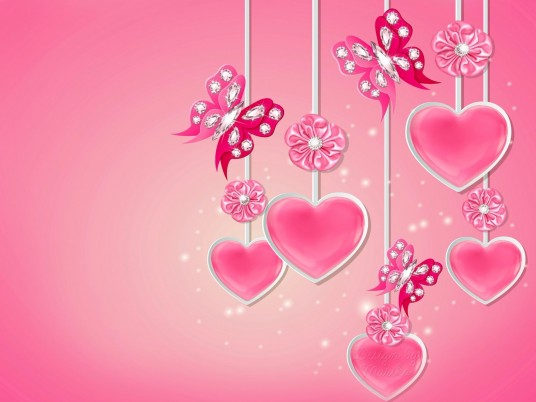 Pink Hearts Butterflys Flowers wallpapers and stock photos