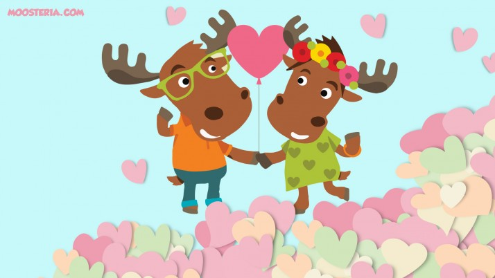 Moose Couple in Love wallpapers and stock photos